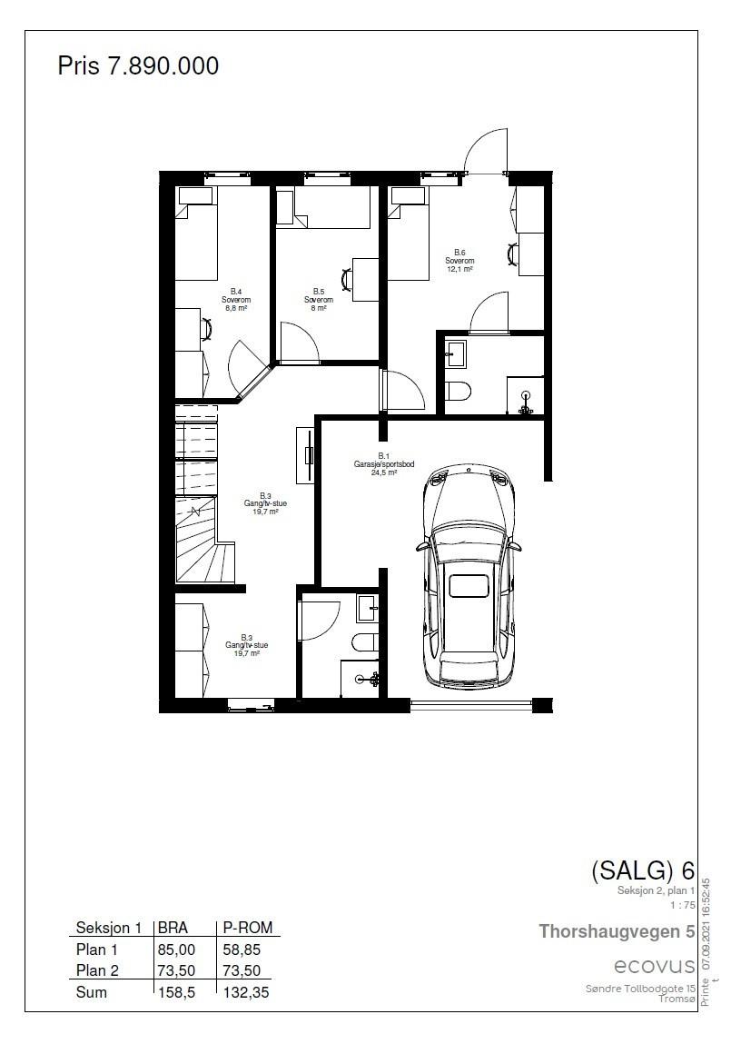 Plantegning Hus B plan 1