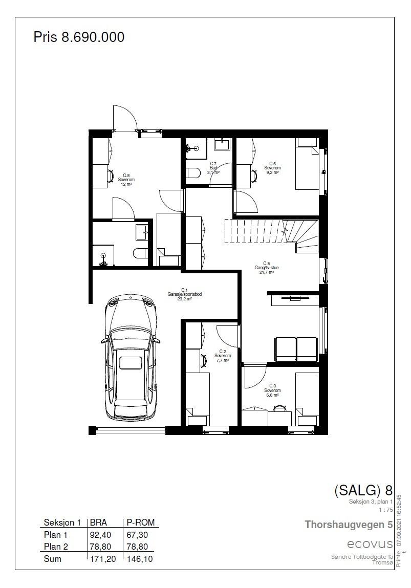 Plantegning Hus C plan 1
