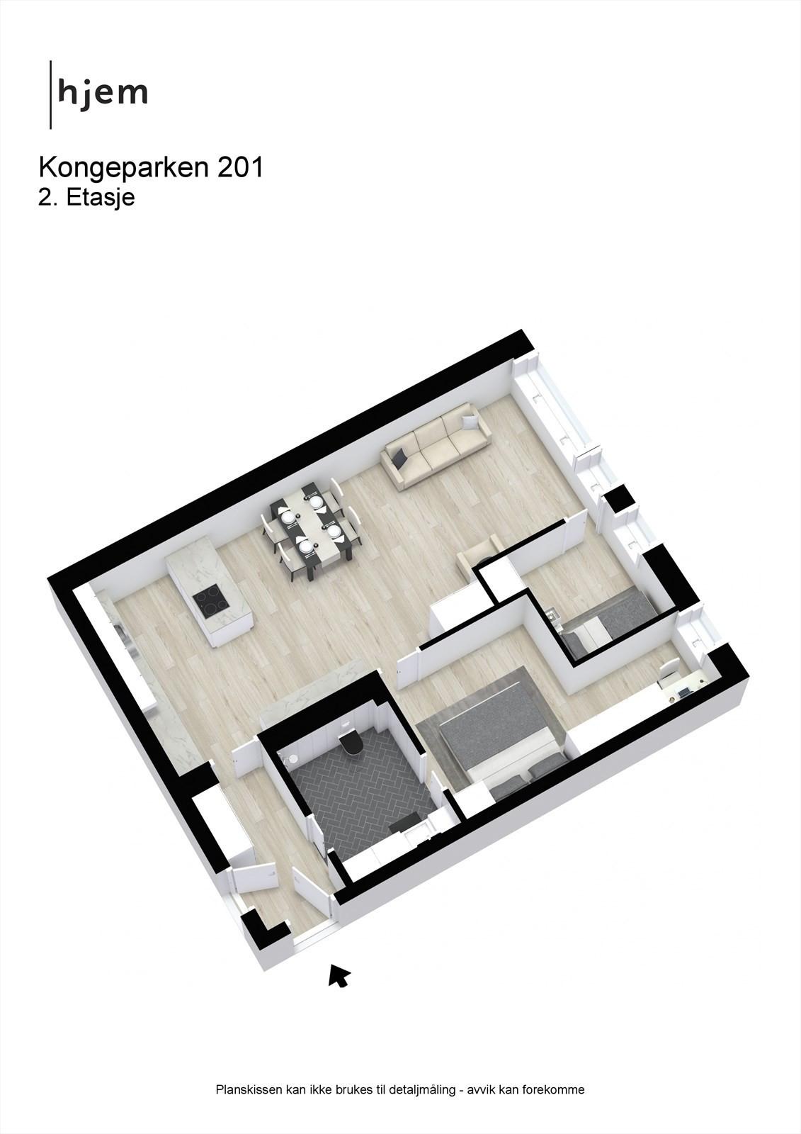 Kongeparken 201 - 3D - 2. Etasje
