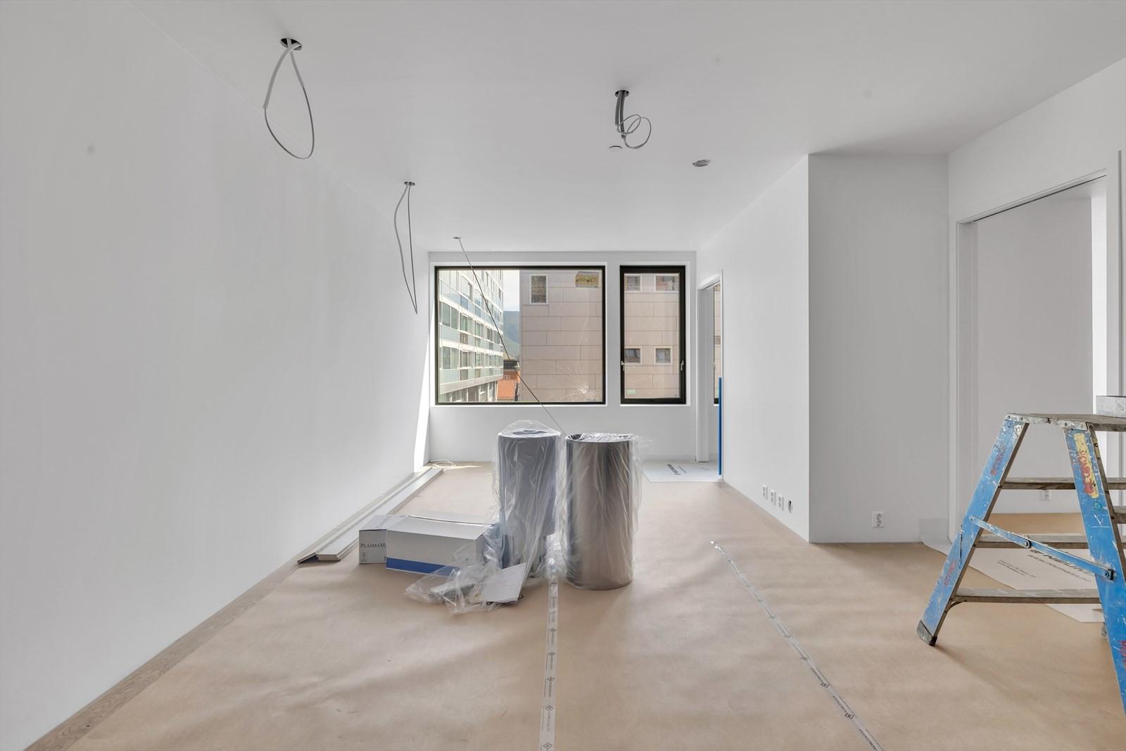 Stue/kjøkken med soverom - gode lysforhold