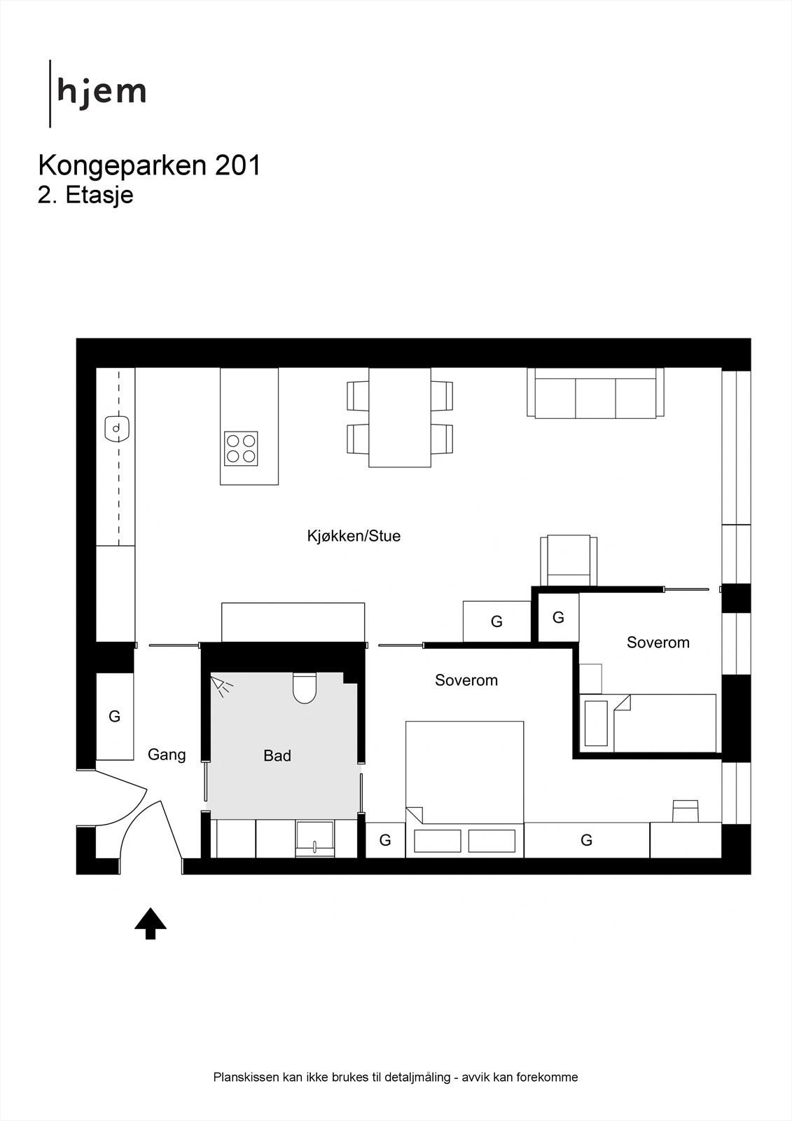 Kongeparken 201 - 2D - 2. Etasje