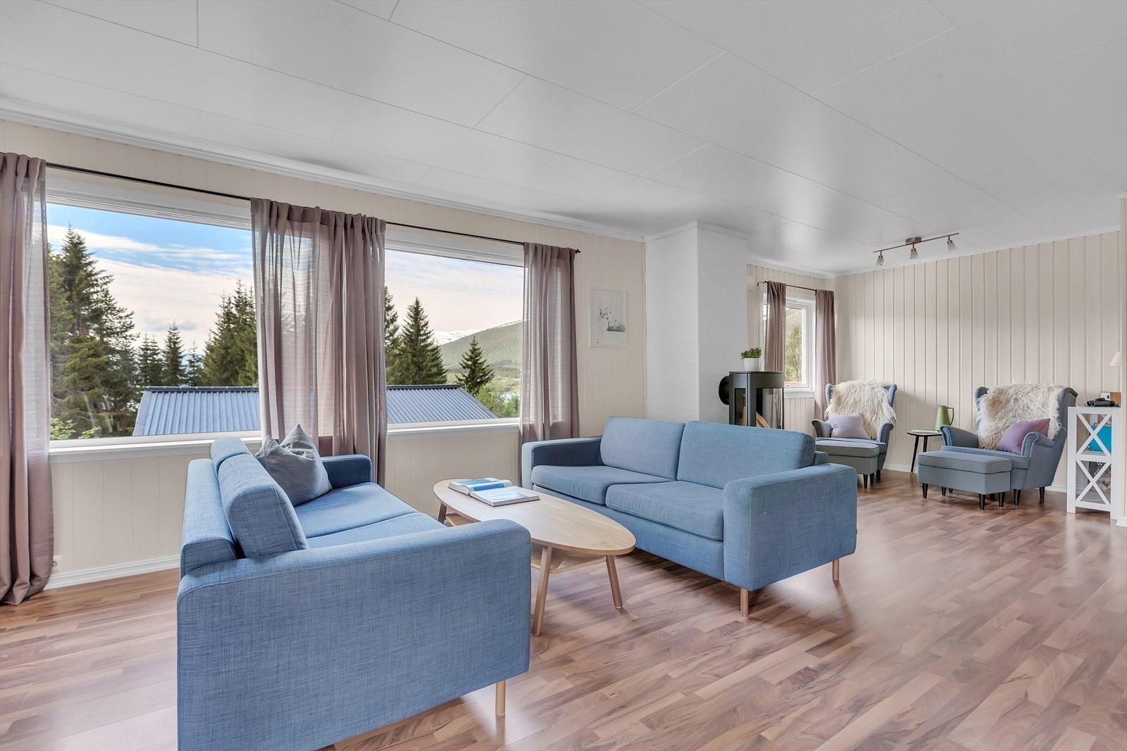 Lys og innbydende stue med gode vindusflater
