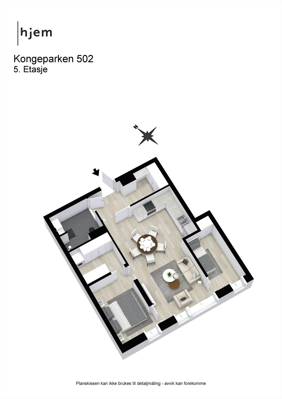 Kongeparken 502 - 3D - 5. Etasje