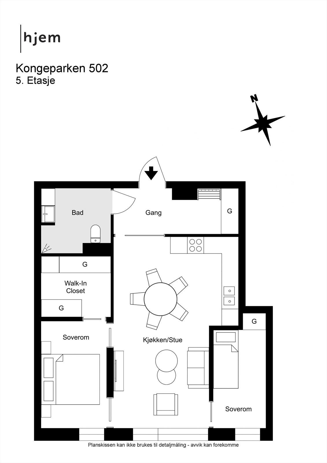 Kongeparken 502 - 2D - 5. Etasje