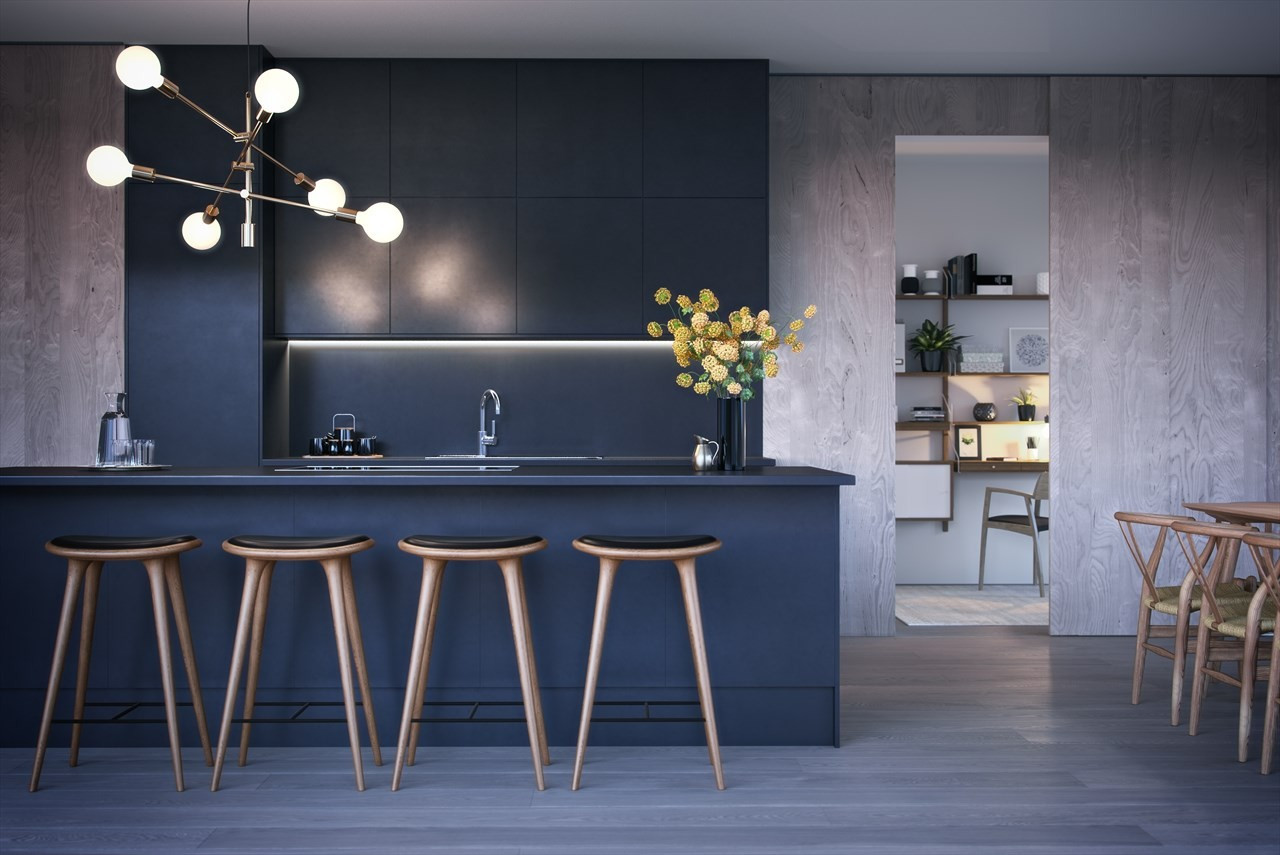 Alle leiligheten vil få kjøkken av høy kvalitet levert av Kvik - illustrasjon