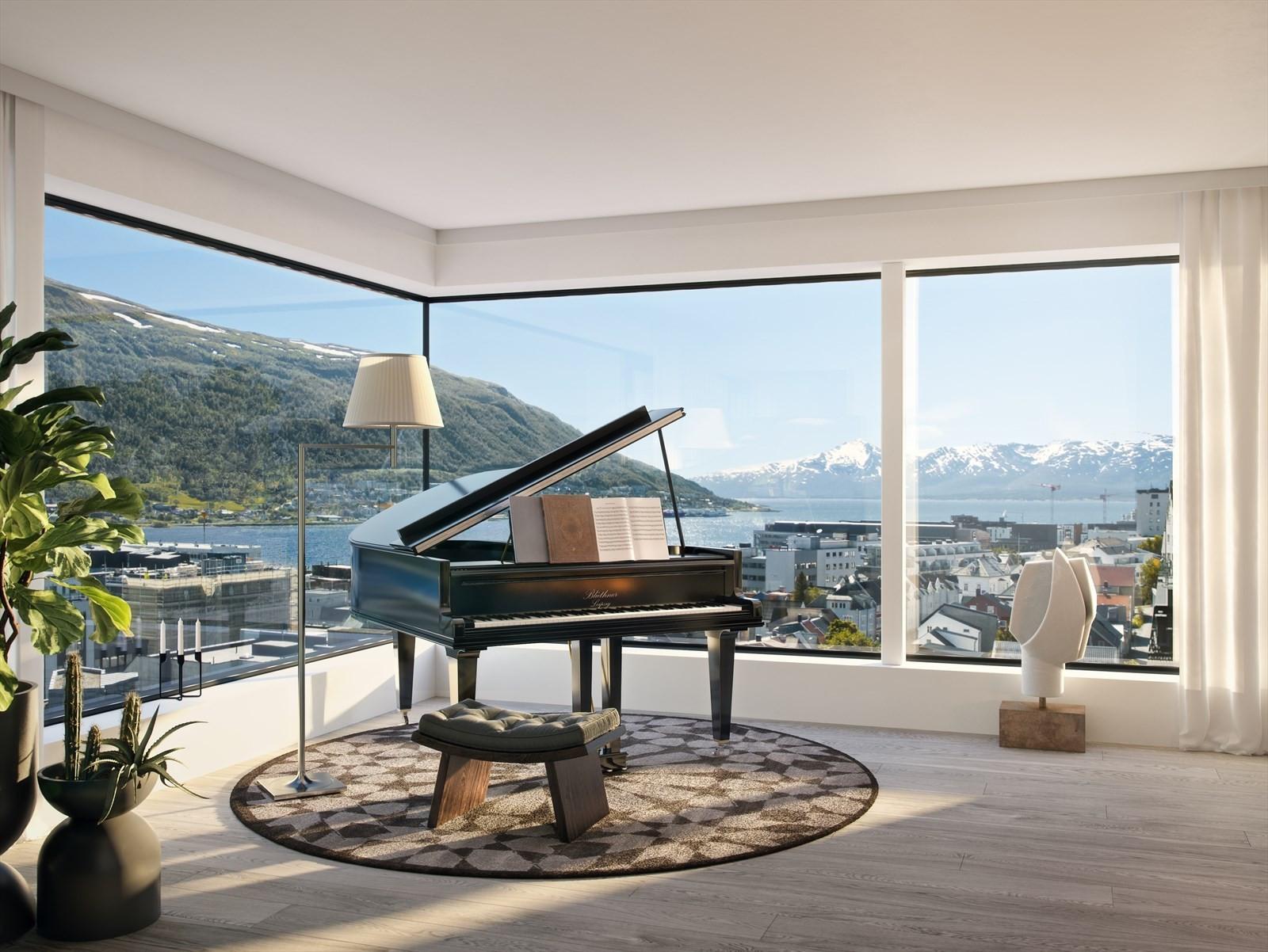 Velkommen - Stue i leilighet 901 med utsikt mot Tromsdalen, byen og sundet.