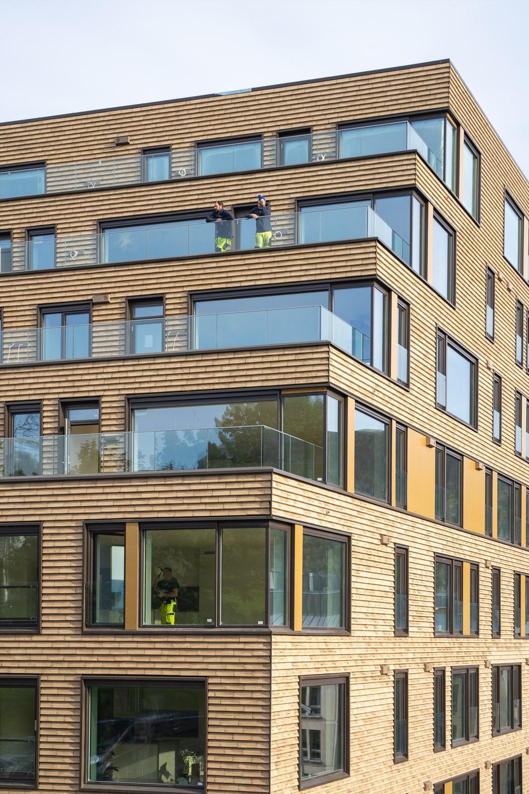 Detalj bilder av fasaden på det sørvestlige hjørnet av bygget