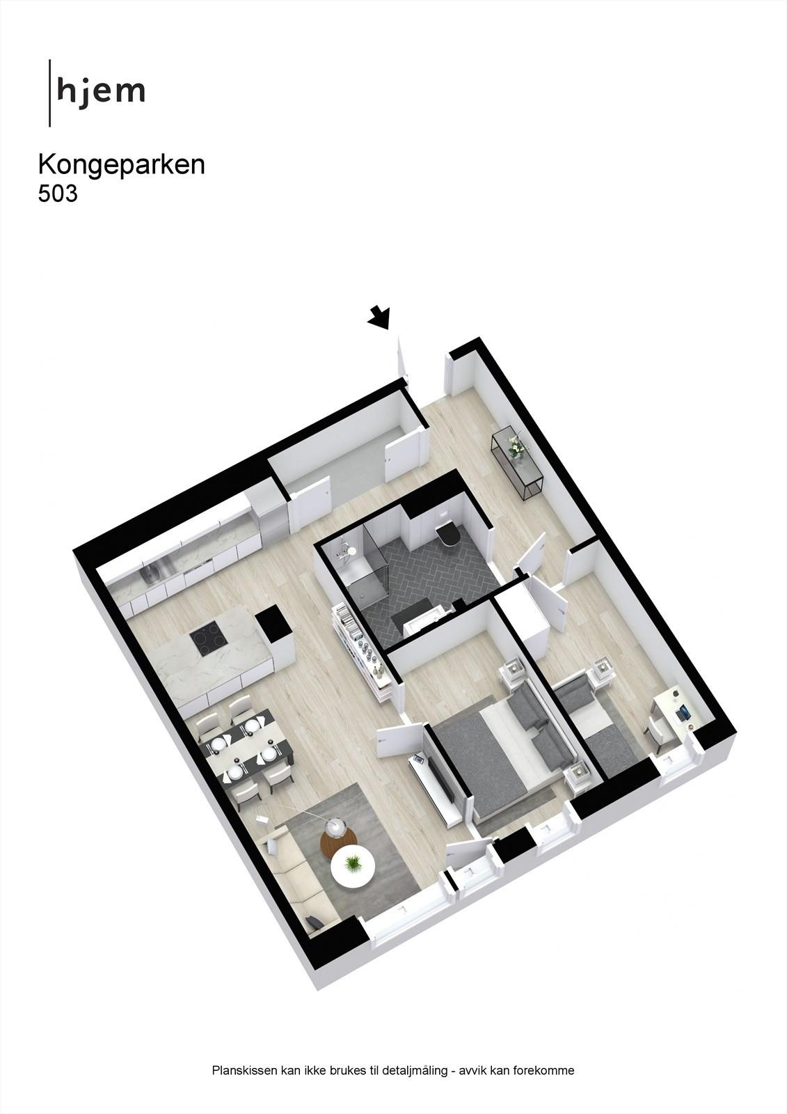 Kongeparken - 503 - Visuelt innredet plantegning