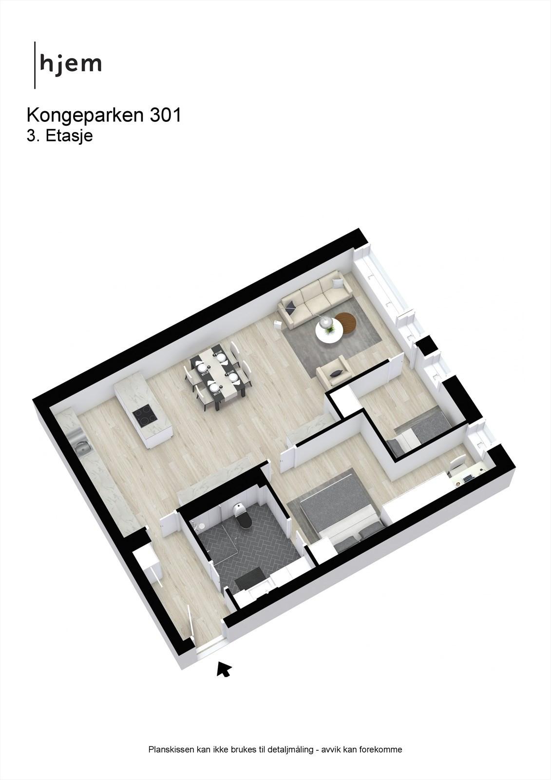 Kongeparken 301 - 3D - 3. Etasje