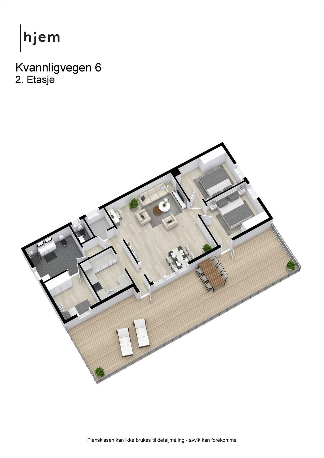 3D planillustrasjon av 2. etasje.