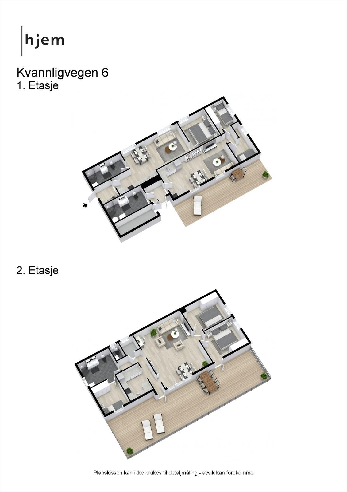 3D planillustrasjon av begge etasjer.