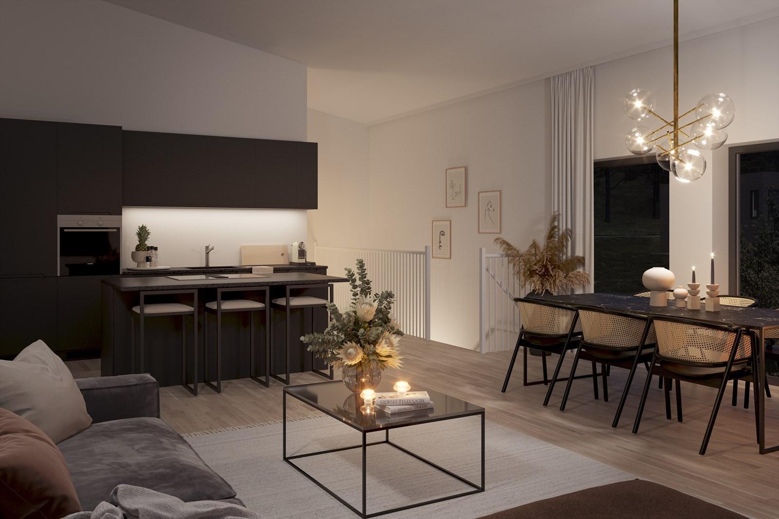 Boligene vil få en gjennomgående høy standard med blant annet pene HTH kjøkken. Dette er stuen i 5-roms leiligheten i bolig 12-1.