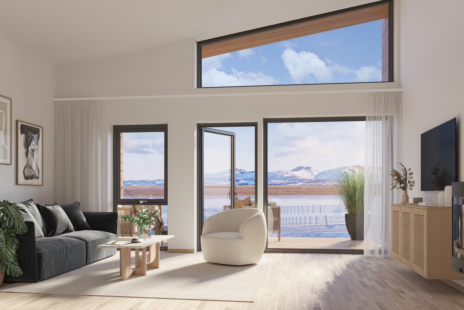 God takhøyde og store vindusflater! Dette er fra stue 4-roms leilighet (alternativ uten soverom).