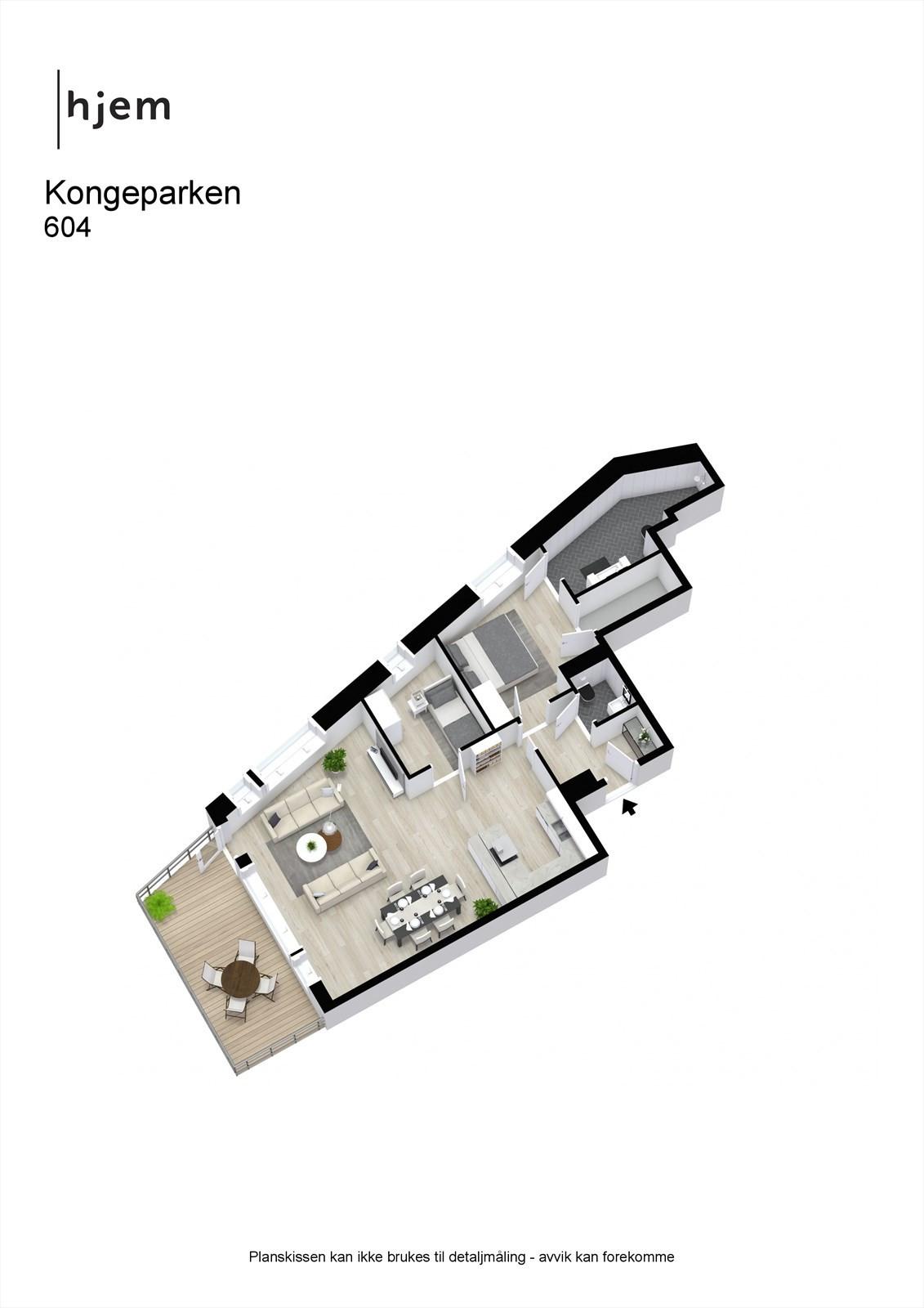 Kongeparken - 3D - 604 - Eget stort baderom innefor hovedsoverommet