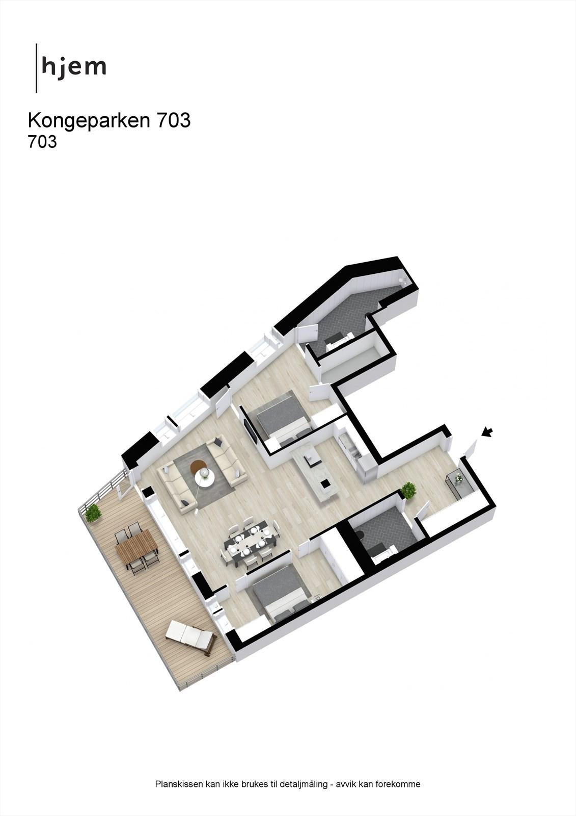Floorplan letterhead - Kongeparken 703 - møblert