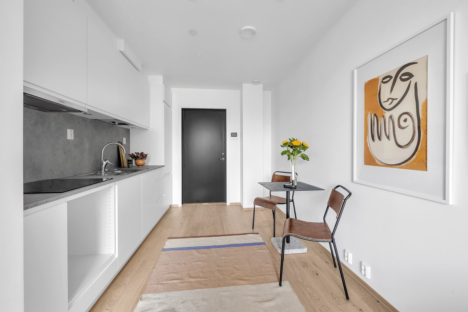 Rommet er komplett med kjøkken og bad (hvitevarer blir overlevert før innflytting)