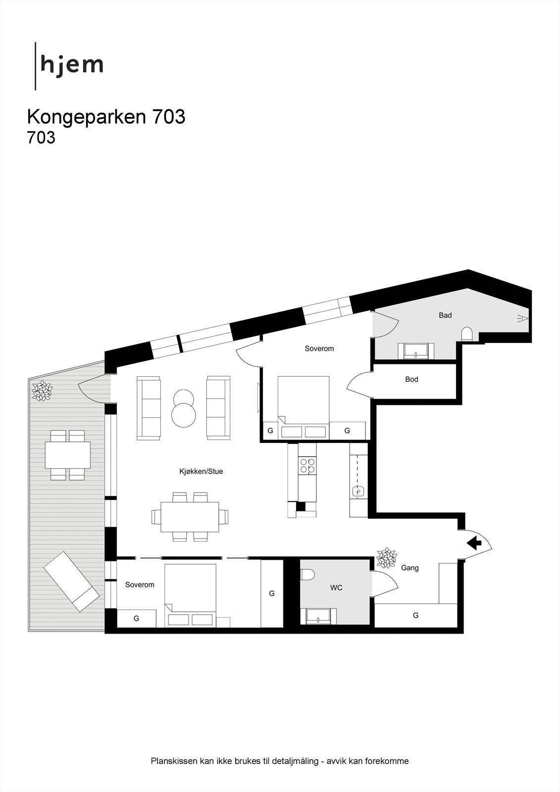 Floorplan letterhead - Kongeparken 703 - plantegning
