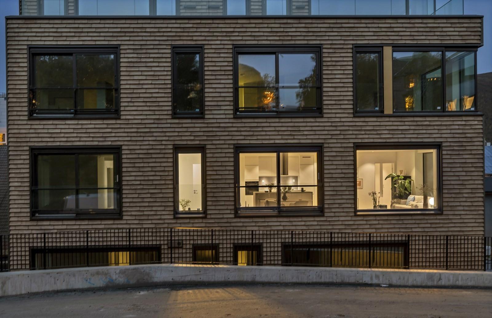 Vakker fasade med teglstein