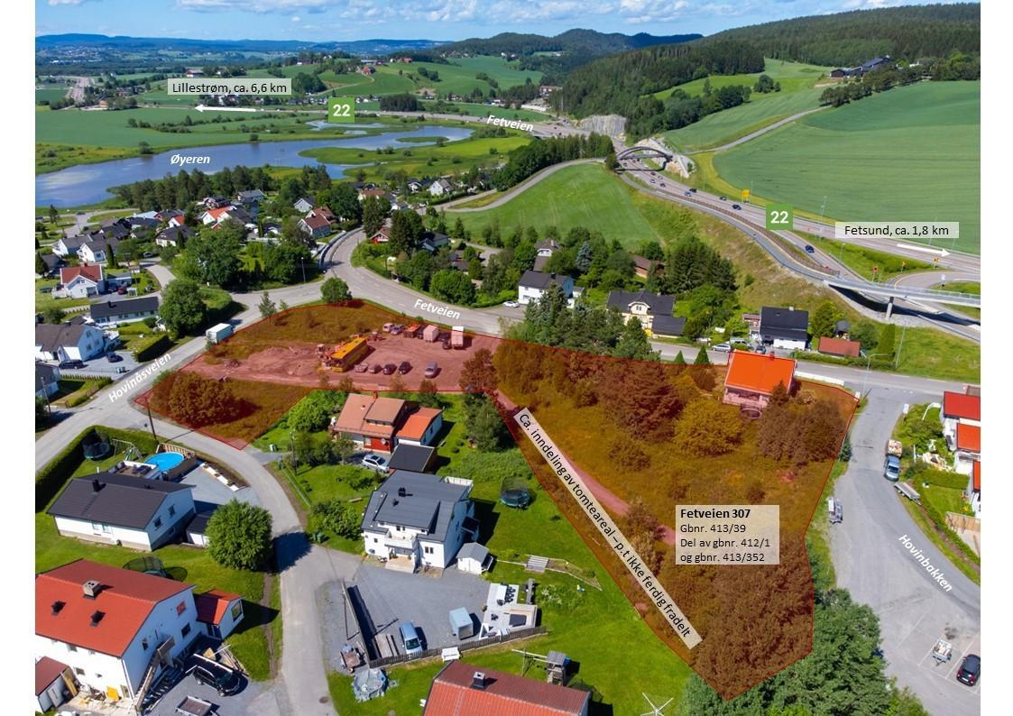 Utviklingstomt rett ved krysset RV 22 og fylkesvei 1501 mellom Fetsund og Lillestrøm