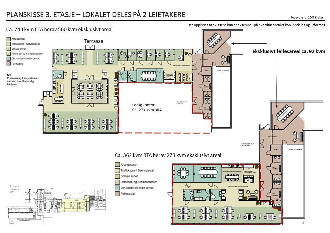 Planskisse 3. etasje - forslag til inndeling