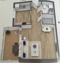 HAUGERUD - 1-roms leilighet/hybel m/nyere bad, kjøkken og innglasset balkong.