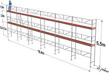 101 m2 stillas med stillashenger - Finer plattform