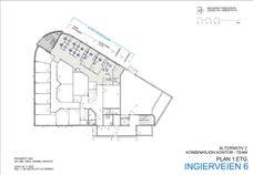Plantegning 1.etasje - ledige arealer er skravert med grått