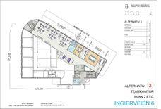 Plantegning 2.etasje - ledige lokaler skissert for teamløsninger