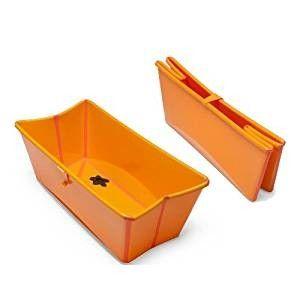 Stokke flexi bath oransje - Slattum  - Nesten ubrukt stokke flexi bath.   Fra produsenten:  Stokke Flexi Bath er et sammenleggbart badekar som passer fra 0-4 år. Det plassbesparende designet gjør det enkelt å lagre og praktisk å bruke hjemme eller på reise. Den  - Slattum