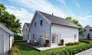 Prosjektert enebolig med mulighet for husbankfinansiering. Klart til maling og gulvlegging.
