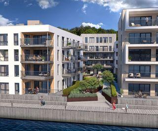Kanalbyen. Bo rolig og solrikt ved sjøen i Kristiansand sentrum. Visning etter avtale med megler!