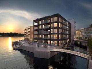 """Kanalbyen 2C - siste byggetrinn på """"Holmen"""" - over halvparten solgt! Se også prosjektets hjemmeside Kanalbyen.no"""