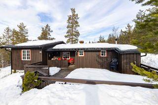 Solrik og høyt beliggende hytte med fin utsikt. Ski in/out.