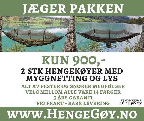 6f376516 Jæger Pakken, 2 stk Hengekøyer med myggnetting og lys fra HengeGøy®