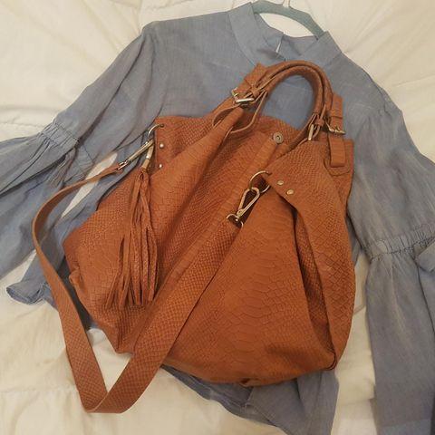 Vakker shopping bag i ekte skinn, helt ny! | FINN.no