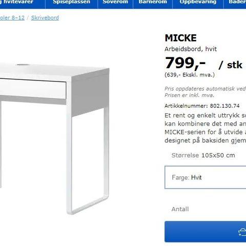 Micke Skrivebord Fra Ikea Selges Finnno