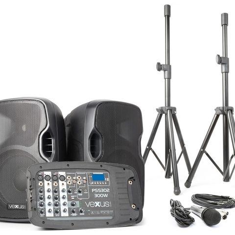Komplett pa-anlegg m  stativer og mikrofon 3b3ed9ee4f5d0