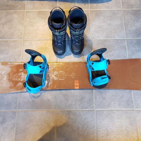 Snowboard pakke 160cm+46.5 støvler+Salomon støvelbag+Burton