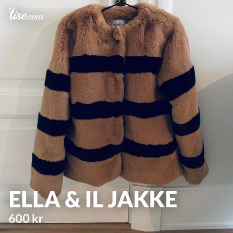 Elle & IL fuskepels jakke beige str.M brukt 2 ganger