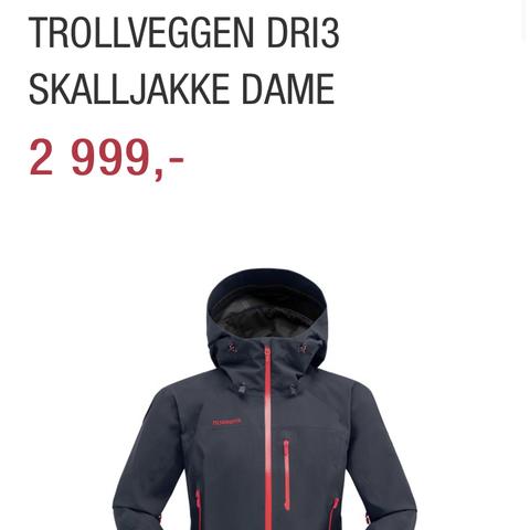 Norrøna trollveggen dri3 skalljakke dame Skall og