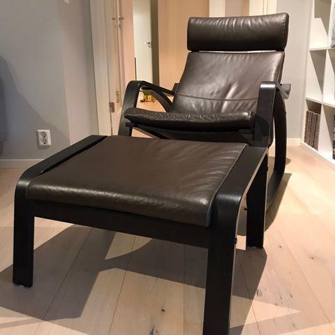 Poeng Lenestol Skinn m fotskammel fra IKEA   FINN.no