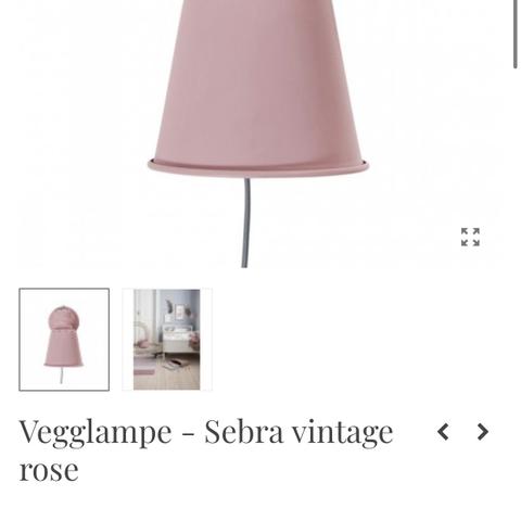 Vegglampe Sebra vintage rose