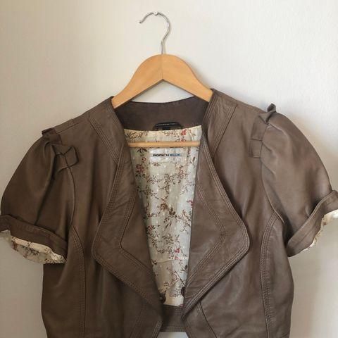 Skinnjakke dame, grå, London fashion label gharani strok, XL