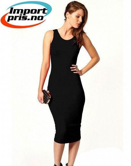 9c9223e3cb25 Elegant Slim kjole med åpen rygg - Sort Rød