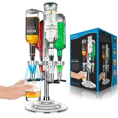 Final Touch Flaskedispenser - Vennesla  - Lag din egen bar med denne flaskedispenseren. Dispenseren er produsert i forkrommet aluminiumsramme og en solid base i bunnen slik at den står stødig. 4 LED belyste dispensere holder opptil 4 flasker som kan roteres rundt bunnen slik at du n - Vennesla
