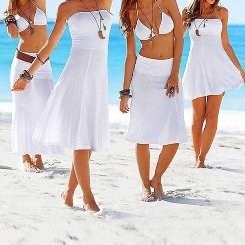 Sommer / strand kjole - skjørt - Oppegård  - Sommer / strand kjole som kan brukes som kjole eller skjørt :)  Tynn og lett i stoffet :)  Farge :White  Str: XL   Se guide nedenfor: Bust: 72 -76 cm  Waist: 84 -90 cm& - Oppegård