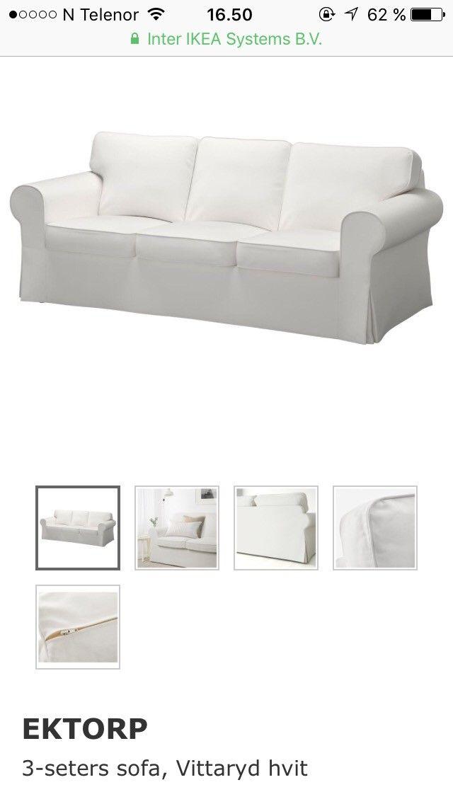 Ektorp sofa med hvitt trekk - Hommersåk  - Selger en lite brukt, men veldig god sofa. - Hommersåk