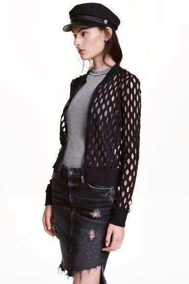 b0cd047c svart cardigan jakke genser hull lås H&M xs 34 bomull jacket sweater black  sort | FINN.no