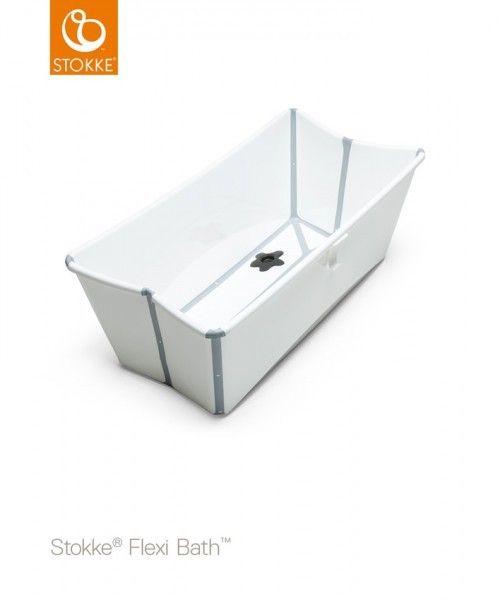 Stokke Flexi Bath med nyfødtstøtte - Trondheim  - Stokke flexi bath i hvit med nyfødtstøtte selges.   Det kan legges sammen, slik at det tar lite plass.  Pent brukt. Nypris er over kr 500 totalt for bath og støtte. - Trondheim