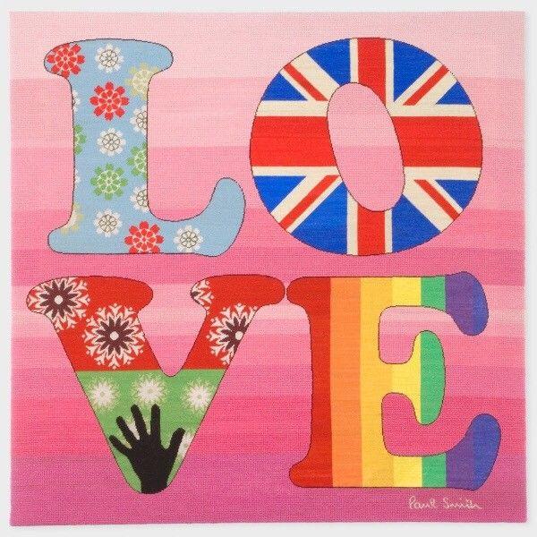 Paul Smith Love Rug (teppe) - Oslo  - Paul Smiths ikoniske Love teppe til salgs.  Bildet/teppet er innrammet og i helt fin stand. Kjøpt i Norge.  Størrelse er 1,04x1,04m. - Oslo